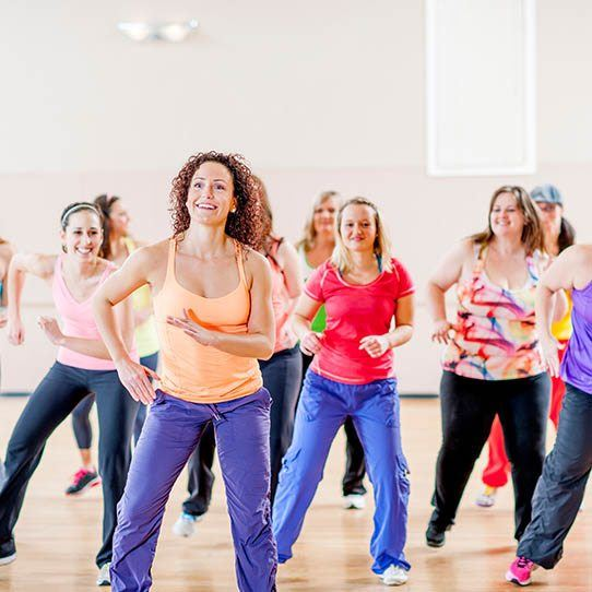 Zumba Class with women dancing